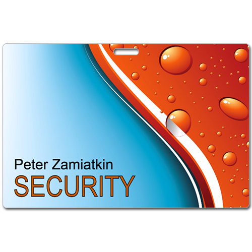 Peter Zamiatkin Security Sample Laminated Badge