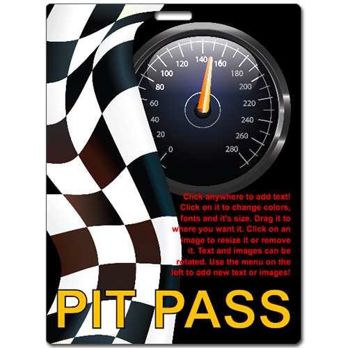 Pit pass custom laminated badge printing