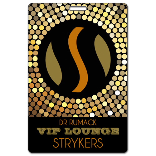 Dr Rumack VIP Lounge Strykers custom laminated badge printed by Tickets and Badges